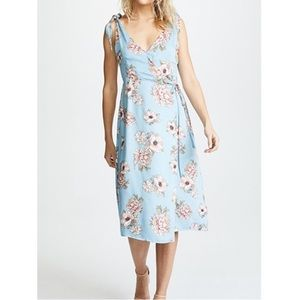 Minkpink Blue and Pink Floral Wrap Dress with Adjustable Straps Sz XS